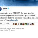 2015年1月5日午前2時47分から5分間無重力状態になるらしい