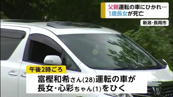 富樫心彩ちゃんが父親の富樫和希さんの運転する車にひかれて死亡