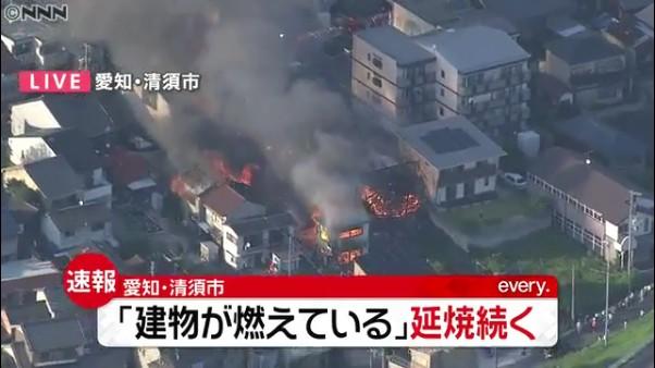 清須市西枇杷島町南二ツ杁の段ボール工場で火災