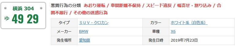 「横浜ゆ4929」のあおり運転は愛知でも報告されてる
