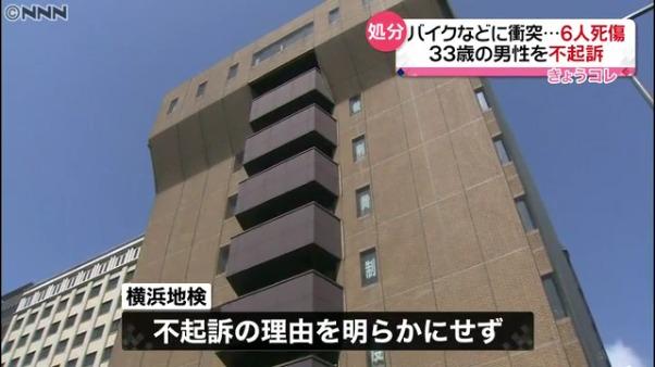 横浜6人死傷事故 鈴木康仁を不起訴