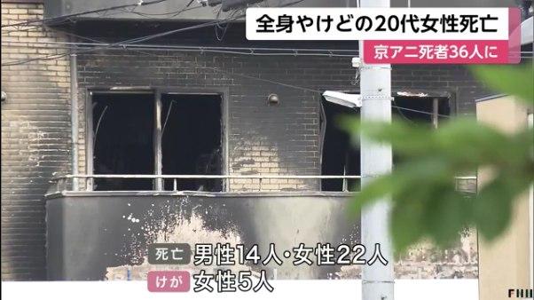 京アニ放火殺人の犠牲者は36人に