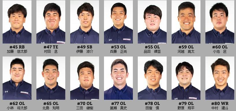 慶大アメフト部(UNICORNS)のメンバー4