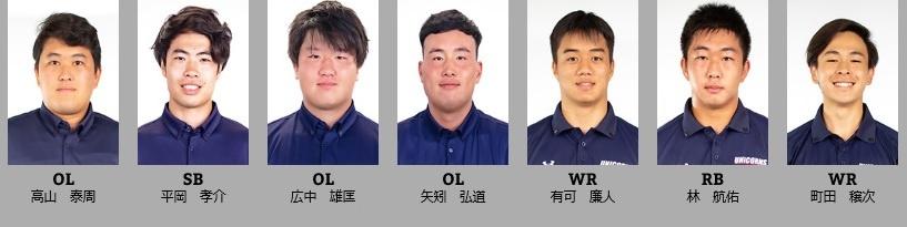 慶大アメフト部(UNICORNS)のメンバー7