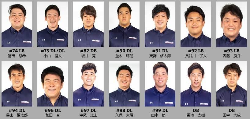 慶大アメフト部(UNICORNS)のメンバー12