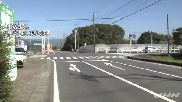 現場は熊本県あさぎり町岡原北の町道交差点