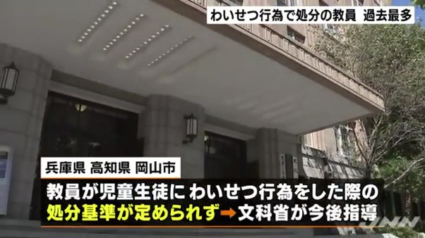 兵庫県、高知県、岡山市はわいせつ行為をした際の処分基準がない