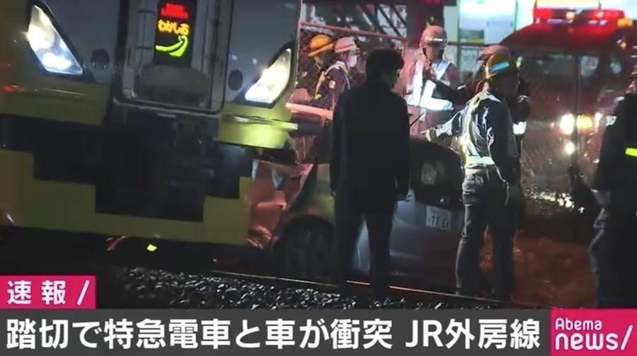 JR外房線の踏切で特急「わかしお」と車が接触