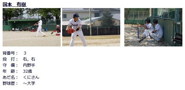 国本有樹は草野球TEAM「大阪GOONIES」所属