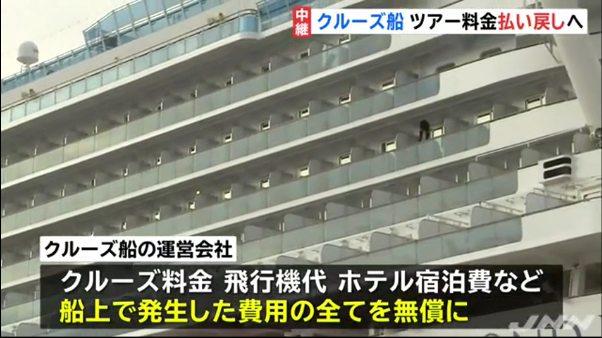 横浜のクルーズ船 旅費全額返金へ