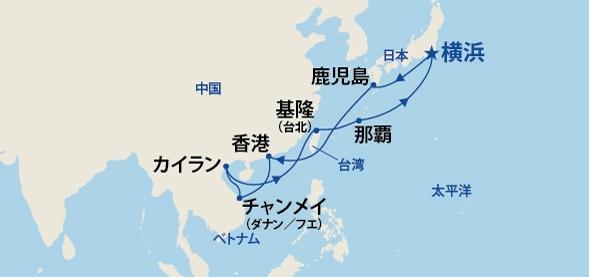 ダイヤモンド・プリンセスの航路と日程