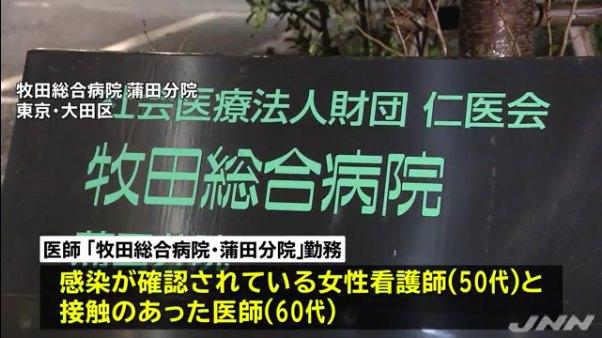 都内で「牧田総合病院・蒲田分院」の医師1人を含め新たに5人の感染を確認