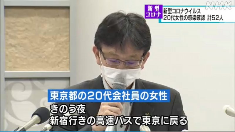 20代女性が検査結果が出るのを待たずに1日の夜に高速バスで東京に戻る