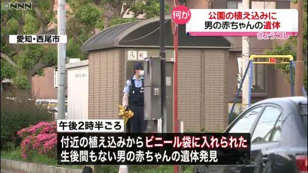 愛知県西尾市住崎の「住崎1号公園」のトイレにへその緒がついた赤ちゃんの遺体 「猫のような鳴き声がする」と通報