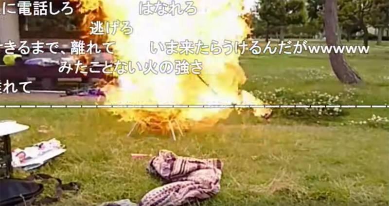 ボンバーガール モデルでレースクイーンの小幡友美さんがニコ生配信中にガスボンベを爆発させる