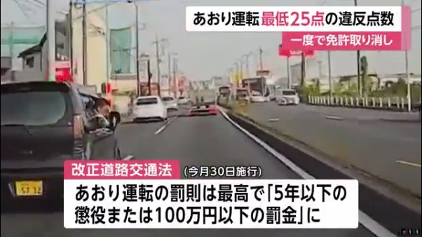 あおり運転の罰則は「5年以下の懲役または100万円以下の罰金」