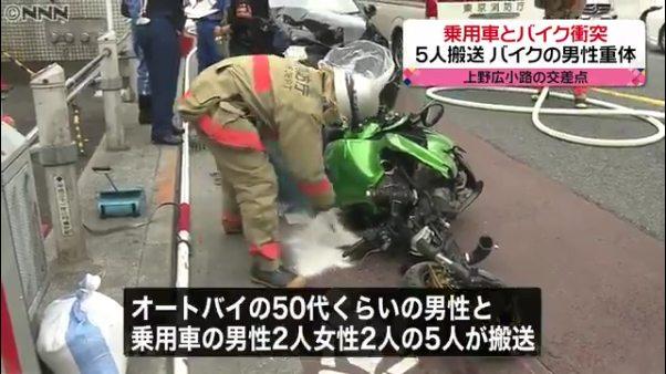バイクを運転していた50代くらいの男性と乗用車の男性2人と女性2人が病院に搬送