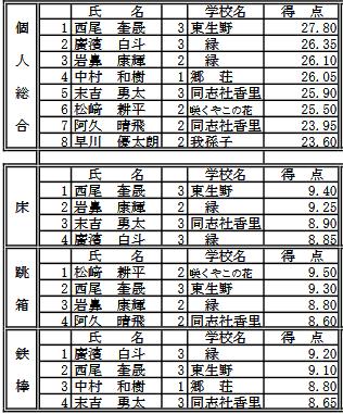 平成28年度  大阪中学校総合体育大会体操競技の部