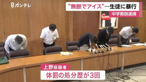 上野宝博には体罰の処分歴が3回ある
