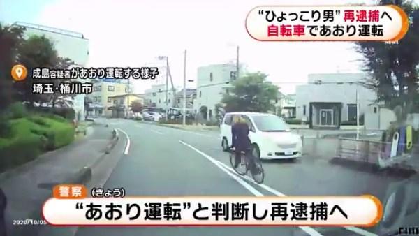 「ひょっこり男」こと成島明彦を自転車初の「あおり運転」で再逮捕へ
