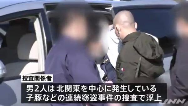 北関東を中心に発生している子豚などの連続窃盗事件の捜査で男2人が浮上