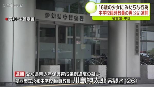 愛知県愛西市立永和中学校の臨時教員・川島紳太郎容疑者を逮捕 「KoeTomo」を通じて16歳少女と知り合いみだらな行為 Facebook特定