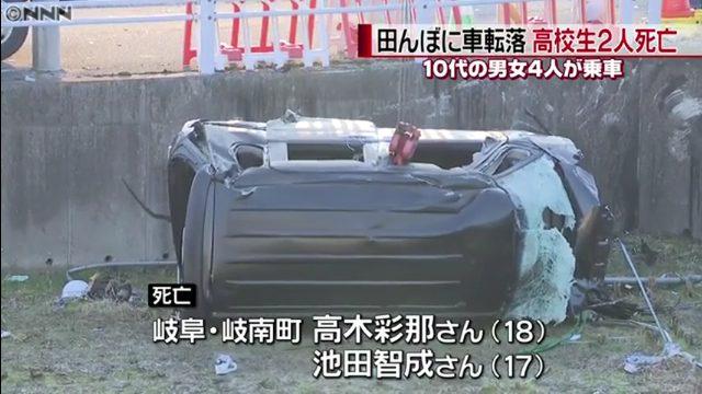 岐阜県大垣市枝郷の国道417号で軽自動車が田んぼに転落し高木彩那さんと池田智成さんが死亡
