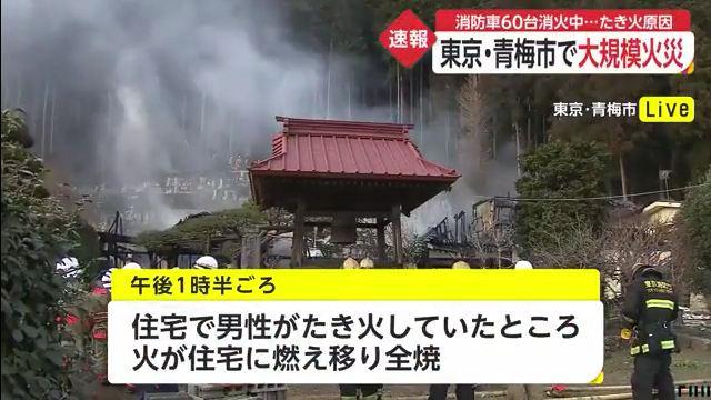 沢井 火事 市 青梅