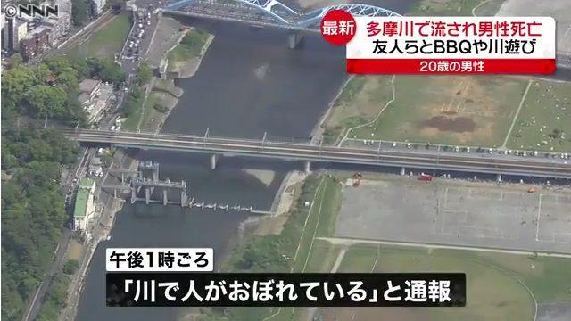 現場は川崎市中原区の丸子橋近くの多摩川