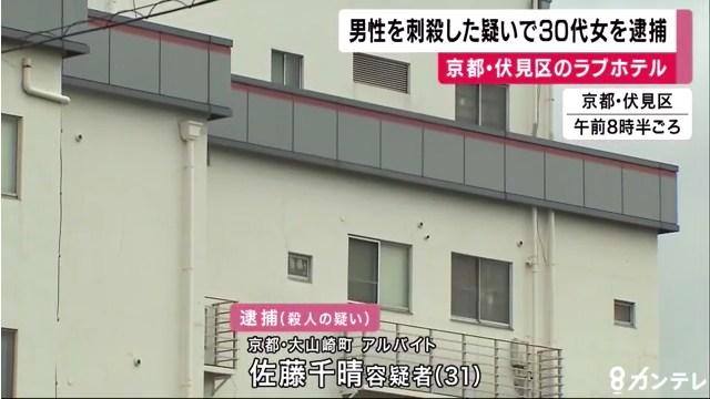 佐藤千晴容疑者を逮捕 京都市伏見区羽束師菱川町のホテル「HOTEL ALFA」で交際相手で師匠の古川剛さんをボウガンで殺害