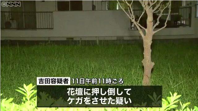 吉田宣雄容疑者が斉藤勝さんを花壇に押し倒す